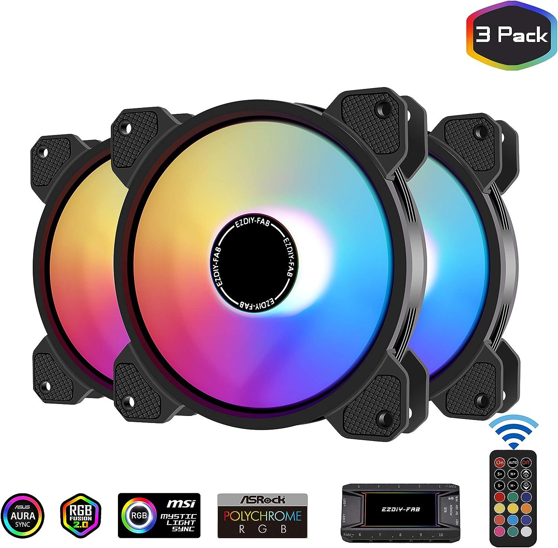 EZDIY-FAB 120mm ARGB Caso Ventilador,Placa Base Aura Sync Ventilador,Alto Flujo de Aire,Ventilador RGB Direccionable con 10-Port Fan Hub X y Remote-3 Pack