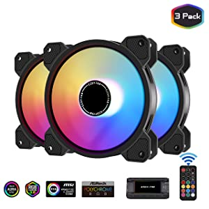 EZDIY-FAB 120mm ARGB Case Fan,Motherboard Aura Sync Fan, High Airflow,Speed Adjustable, Addressable RGB Fan for PC Case 10-Port Fan Hub and Remote-3 Pack