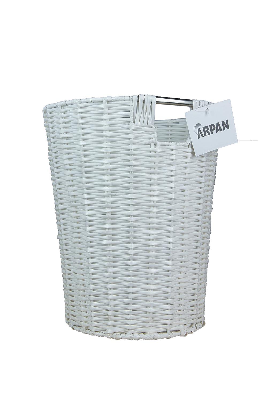 Arpan Set of 2 White Resin Plastic Strong Round Waste Paper Bin ...