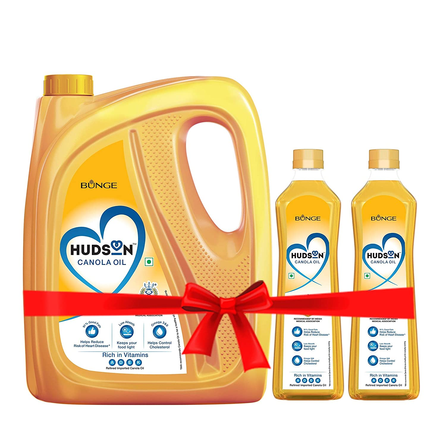 Hudson Canola Oil, Healthiest Cooking Oil, Indian Medical Association Recommended- 5L with 2L Free