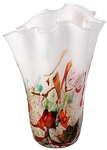 Anna Exclusive Decor Realizzato a Mano, Grande Fazzoletto Vaso in Vetro–Nero e Rosa–34cm