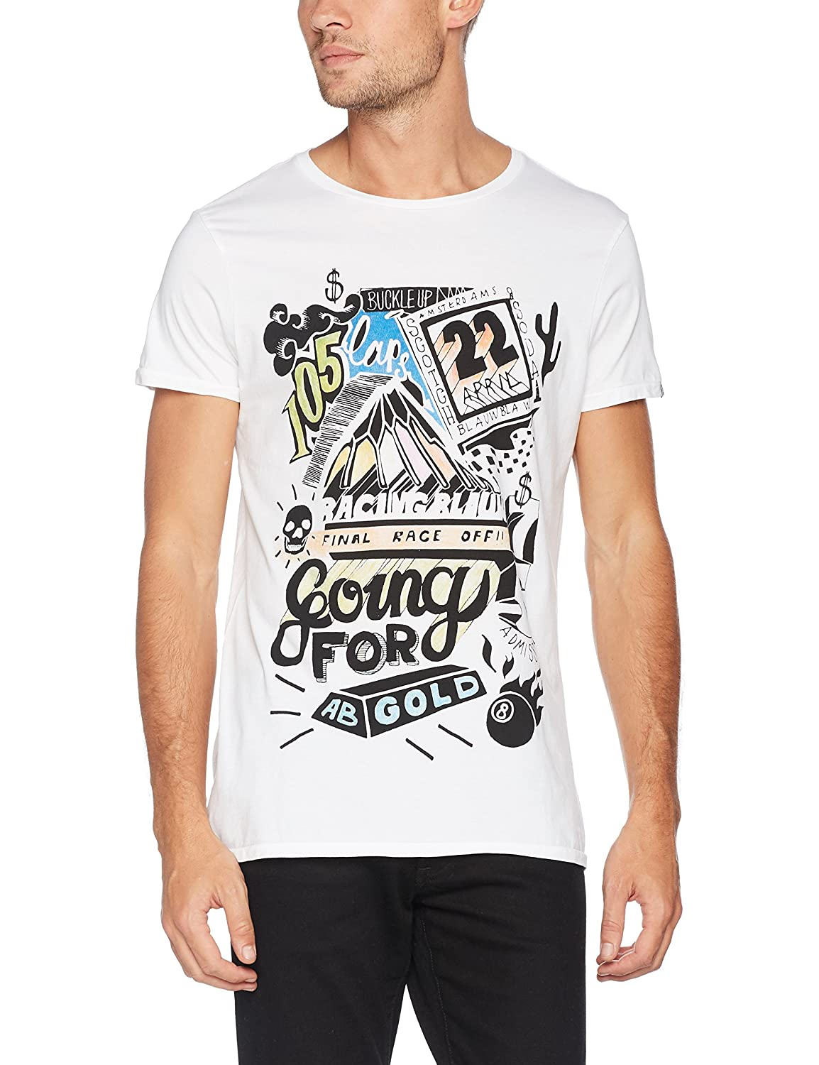 Scotch & Soda Men's AMS Blauw Hotel Graphic Tee with Long Line Twisted Fit T -Shirt: Amazon.co.uk: Clothing
