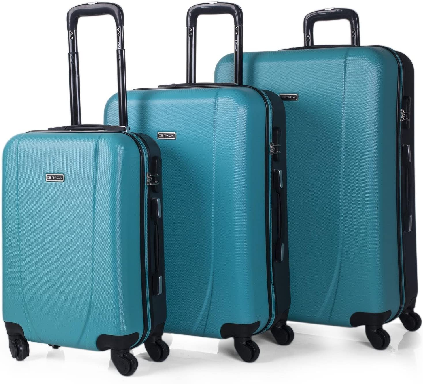 ITACA - Juego de Maletas de Viaje Rígidas 4 Ruedas Trolley 55/65/75 cm ABS. Buenas Cómodas y Ligeras. Candado. Grande Mediana y Pequeña Cabina Ryanair. 7110, Color Turquesa-Antracita
