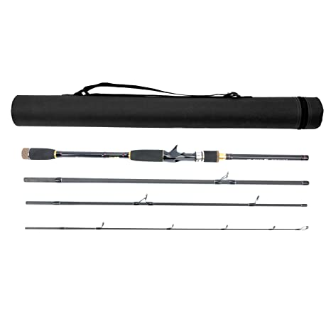 Travel Spinning Fishing Rod with Tube Case,Lightweight 4 Piece Lure Rod Pole