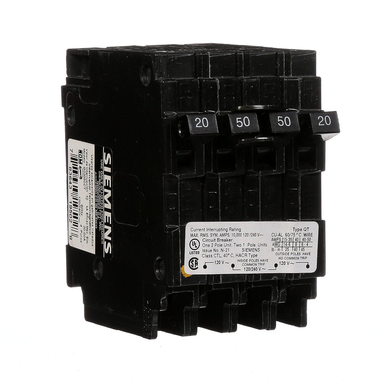 Siemens Q22050ct 50 Amp Double Pole Two 20 Single Circuit Volt 2 Breaker Wiring Diagram Magnetic Breakers