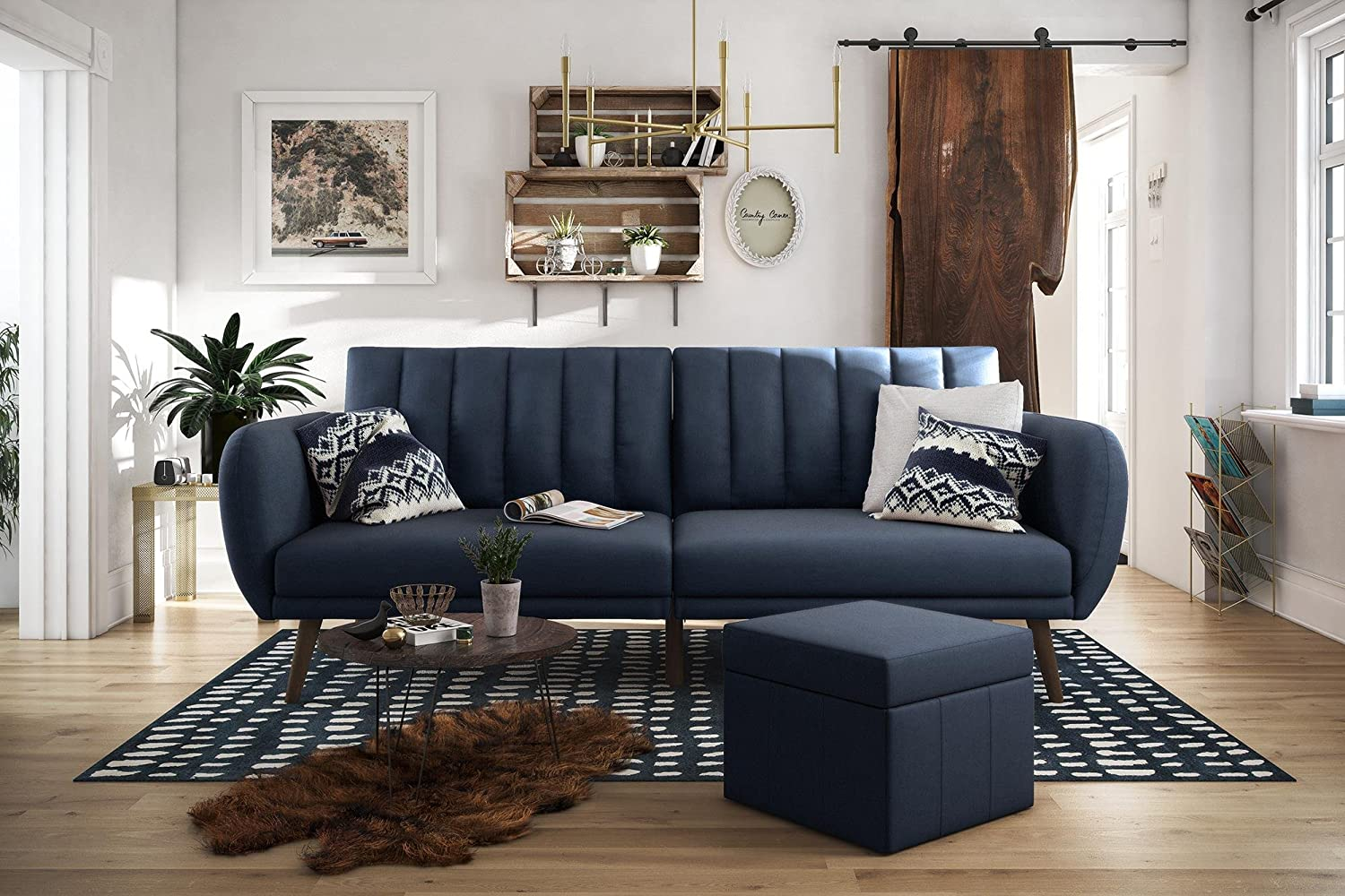 Brittany Sofa Futon - Navy Linen-Ribbed tufted cushioned back with slanted oak coloured wooden legs