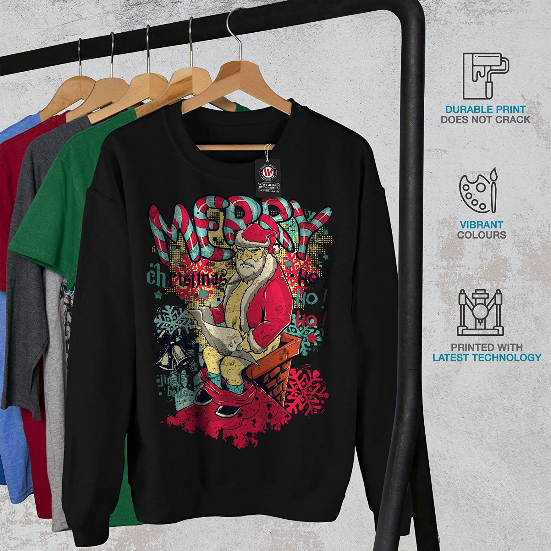 Xmas Casual Jumper wellcoda Christmas Santa Funny Mens Sweatshirt
