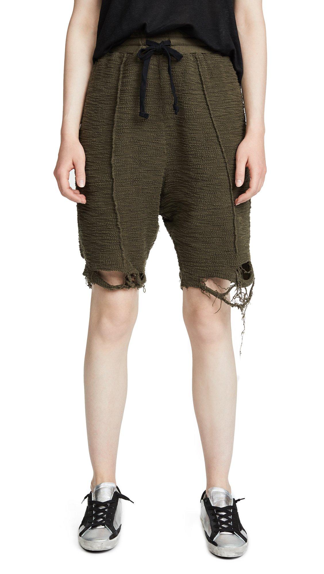 Twenty Tees Women's Destroyed Hem Sweat Shorts, Army, Medium