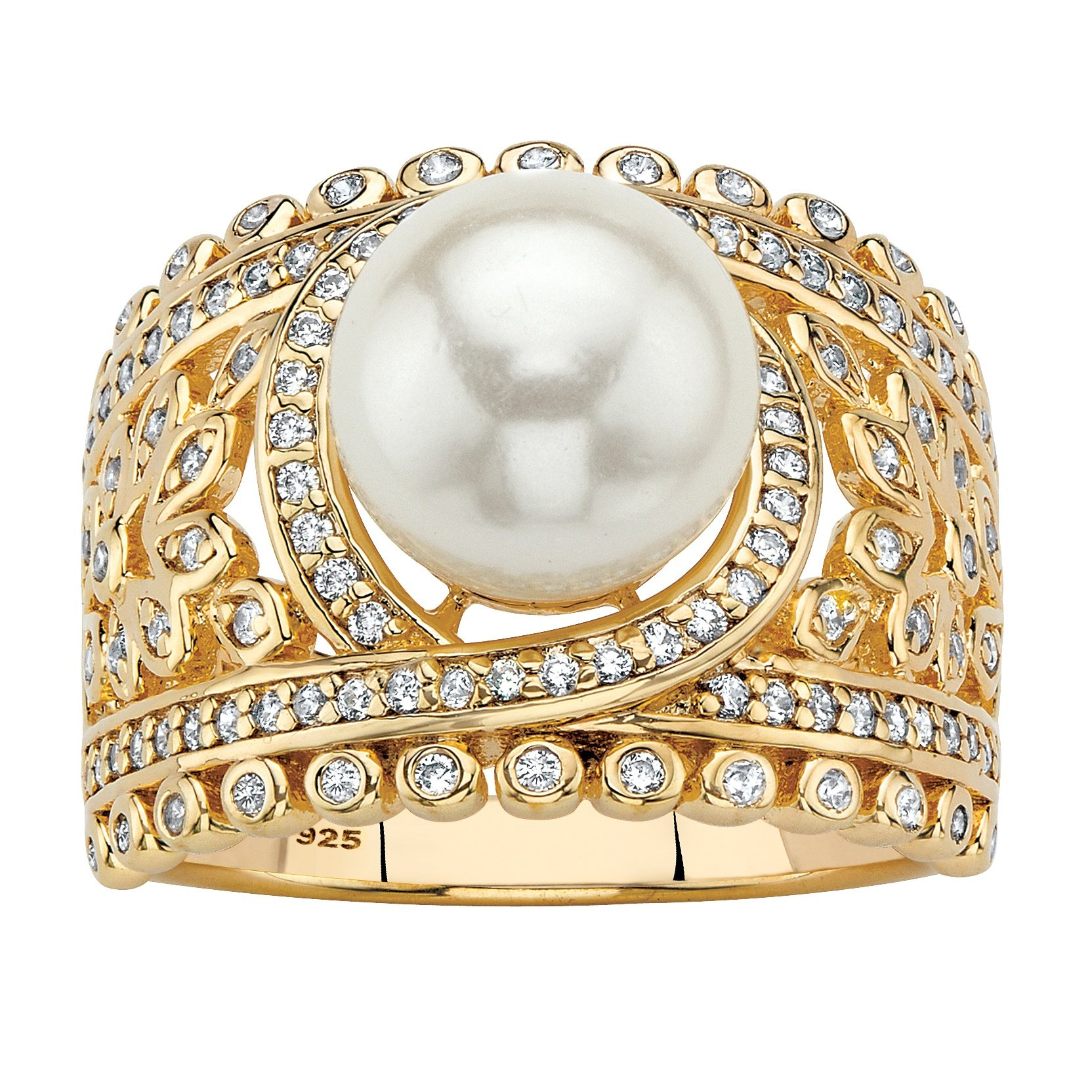 14K Yellow Gold over Sterling Silver Simulated Pearl and Cubic Zirconia Floral Ring Size 8