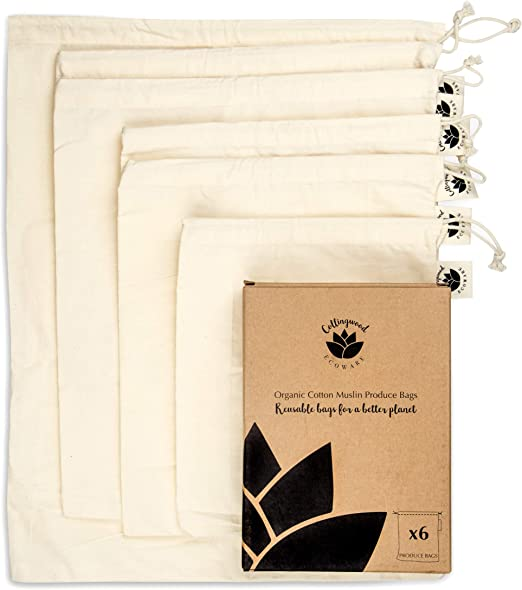 6 bolsas de muselina de malla de algod/ón org/ánico reutilizables