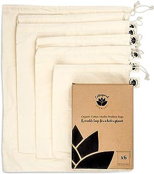 Collingwood Ecoware - Juego de 6 bolsas reutilizables de algodón ...