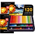 120-Pieces Cool Bank Artist Pencils Set with Drawing Pads