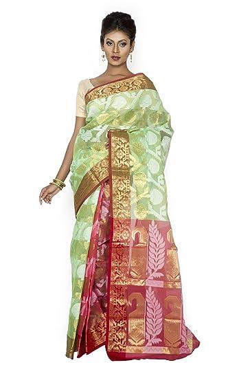 8b7df7fe93797b Weavers Crafts Women Benarasi Jamdani Art silk saree with brocade blouse  piece (BS106 Green and Pink)  Amazon.in  Clothing   Accessories