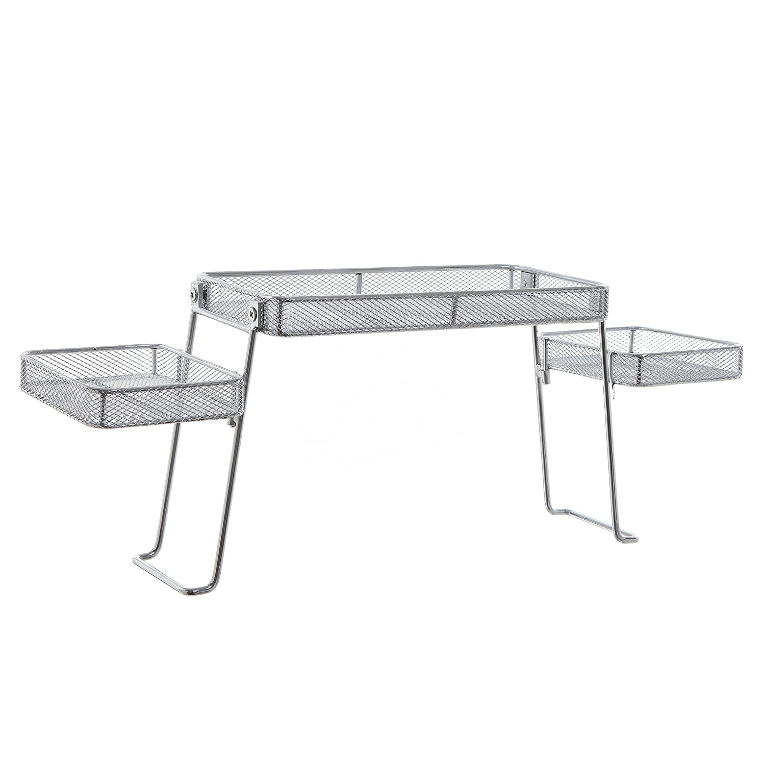 Modern Perforated Chrome Plated Metal Countertop Organizer//Bathroom Tray with 3 Shelves