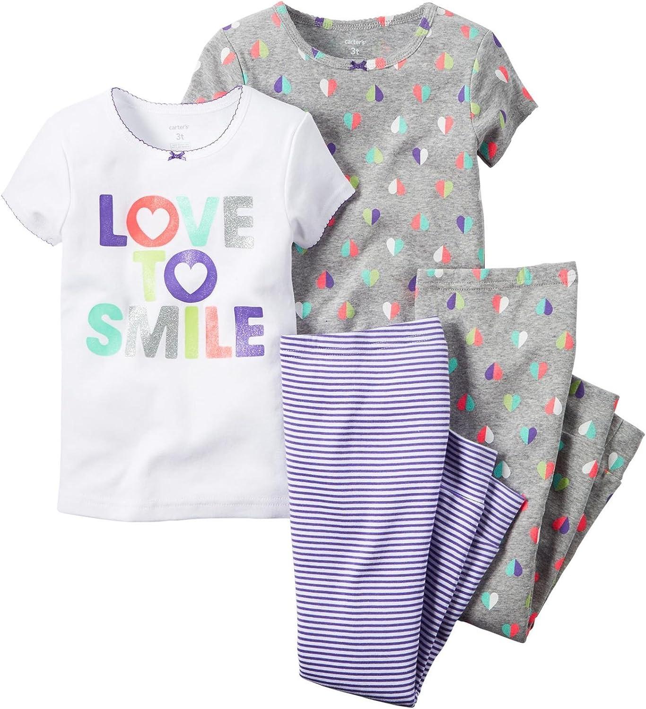 Carter/'s Girls/' 4-piece Snug Fit Cotton Pajamas Love to Smile 4T 5T