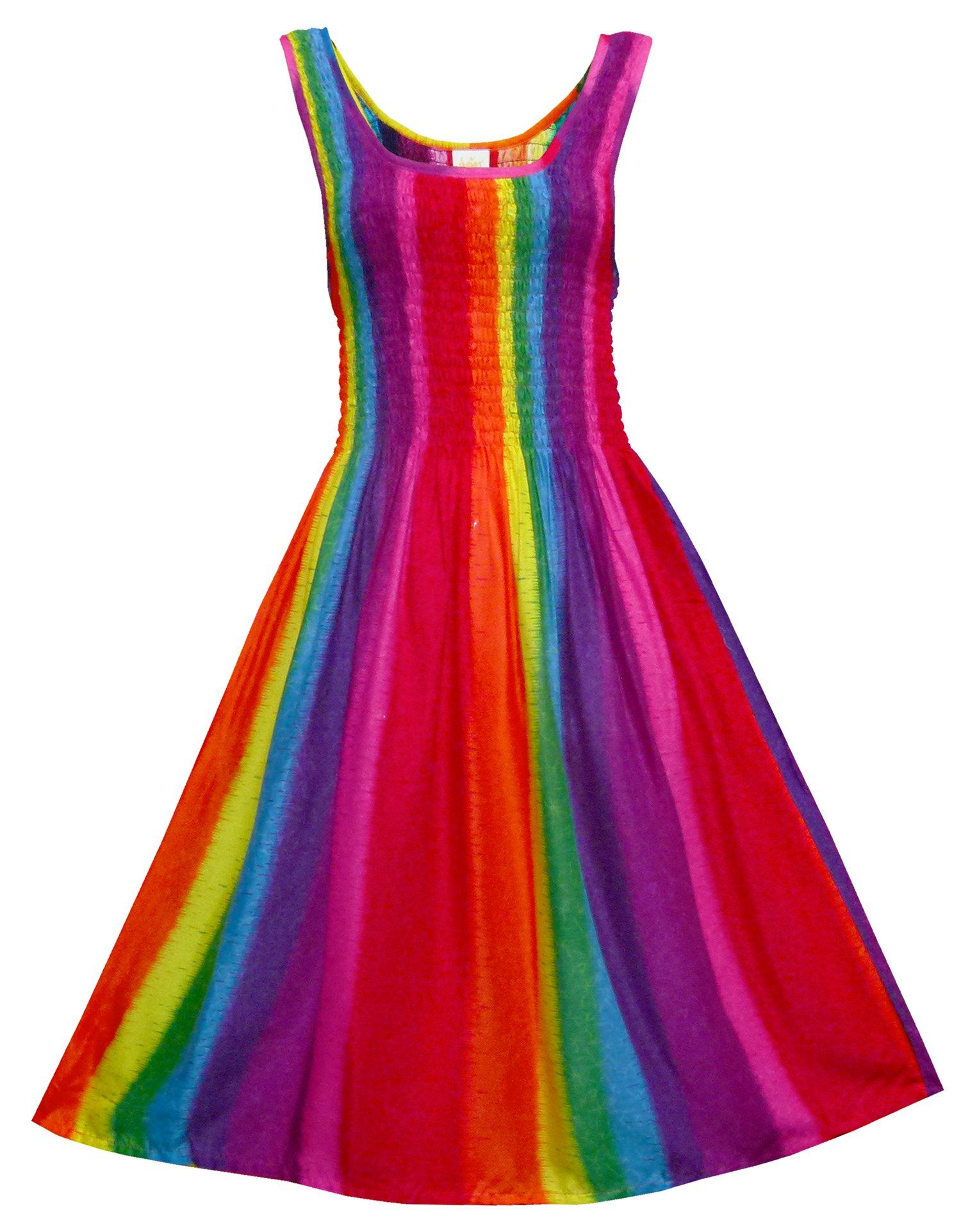 Pikulla Sleeveless Smock Women's Rainbow Hippie Gypsy Sundress Multicoloured SML