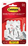 Command Kitchen Utensil Hooks with Command Adhesive Strips - Small, White, Value Pack