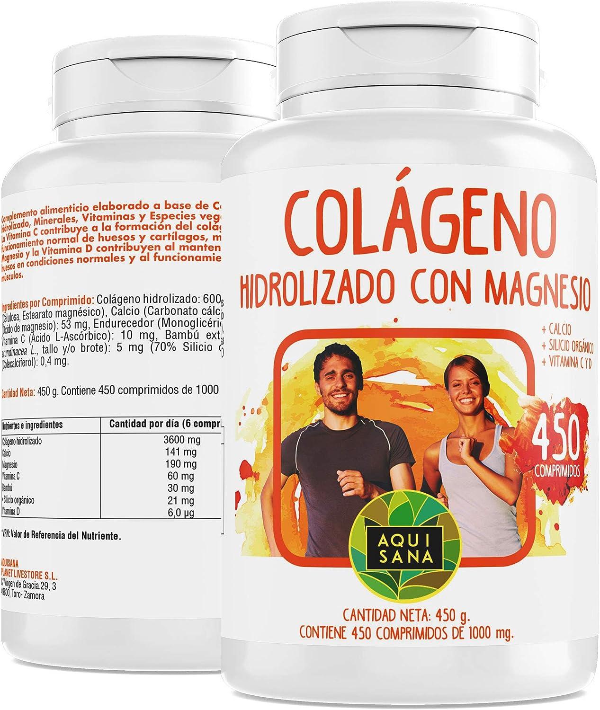 Colágeno Con Magnesio | Colágeno Hidrolizado Con Magnesio y Calcio | Colágeno con vitamina C y vitamina D para ayudar a la energía del día a día | 450 Comprimidos - Aquisana: