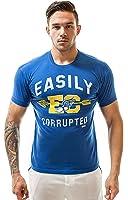 "ajaxx63 ""Easily Corrupted Vintage"" T-Shirt, bleu"
