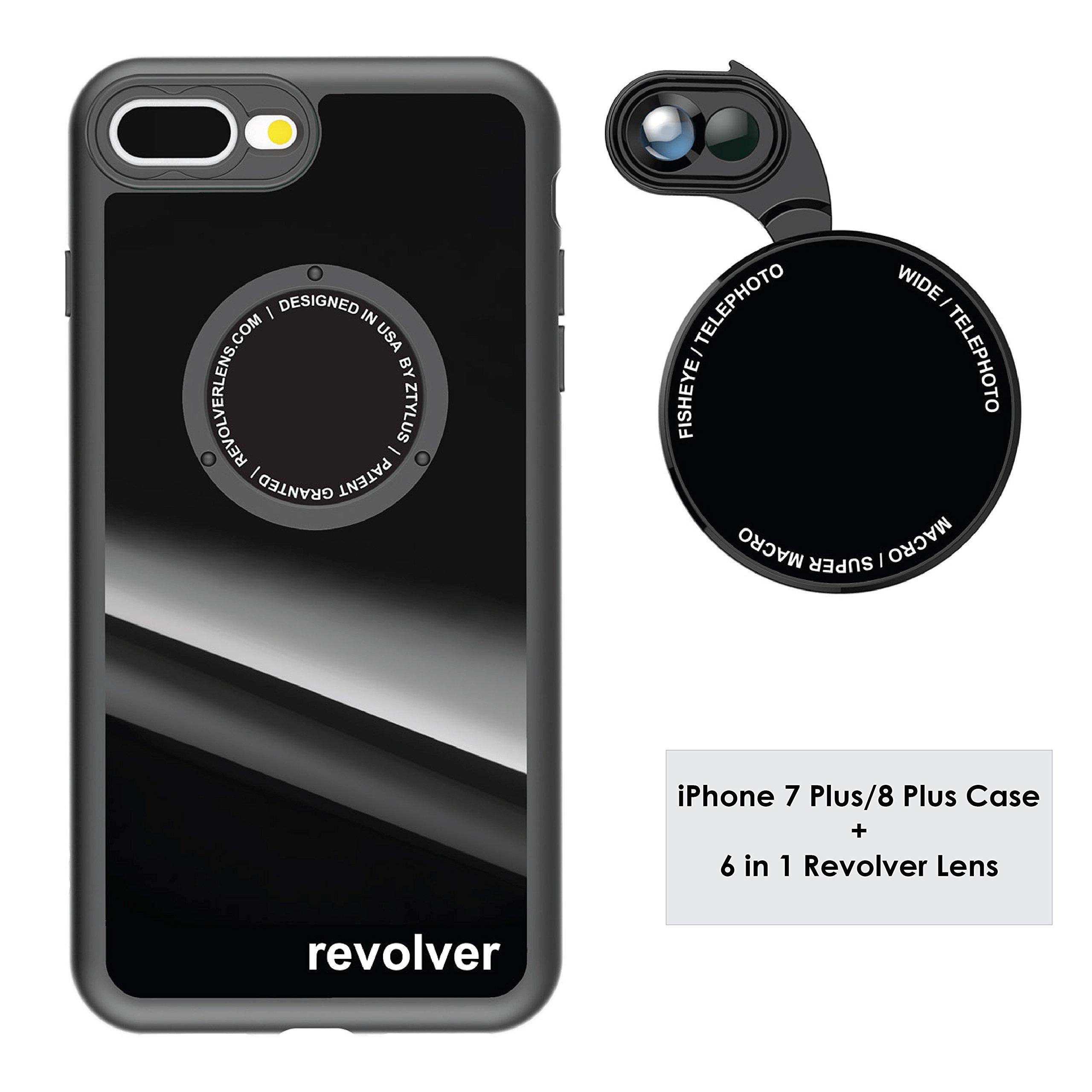 Ztylus Gloss Black Revolver M Series Camera Kit: 6 in 1 Lens with Case for iPhone 7 Plus / 8 Plus - 2X Telephoto Lens, Macro, Super Macro Lens, Wide Angle Lens (Gloss Black) by Ztylus
