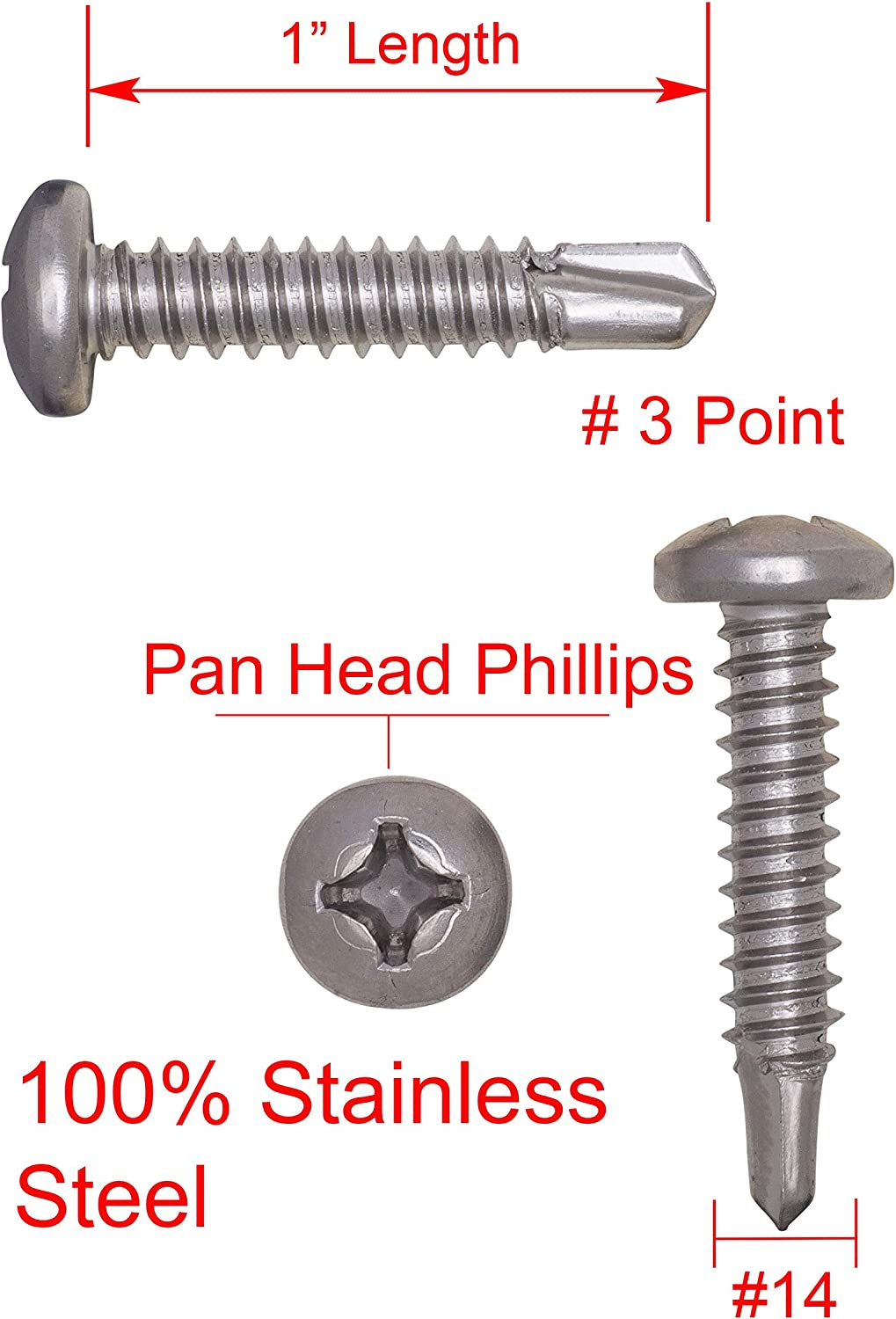 410 Stainless Steel Self Tapping Screws by Bolt Dropper #12 X 2 Stainless Pan Head Phillips Self Drilling Screw, 25pc