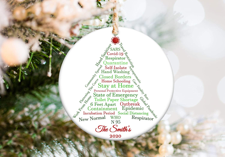 Ornament Ceramic Xmas Ornament Novelty Christmas Tree Decoration Covid 19 Ornament Package Customized Funny 2020 Quarantine Christmas Ornament