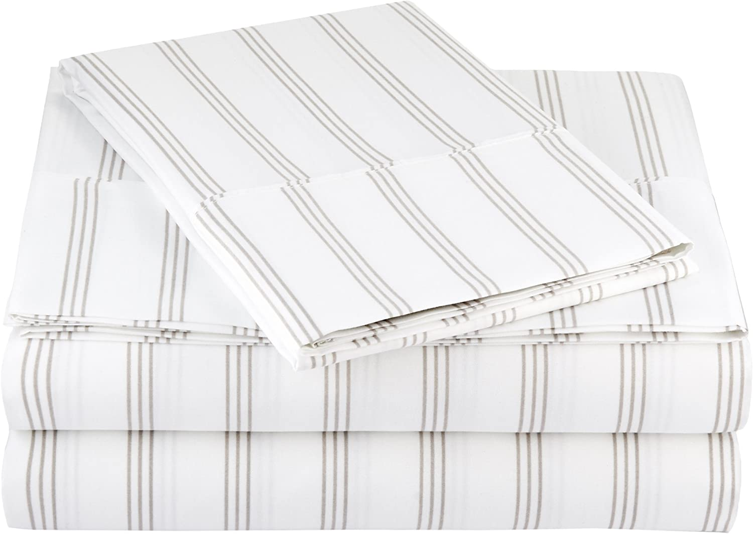 "AmazonBasics Lightweight Super Soft Easy Care Microfiber Sheet Set with 16"" Deep Pockets - Twin, Taupe Stripe, 4-Pack"