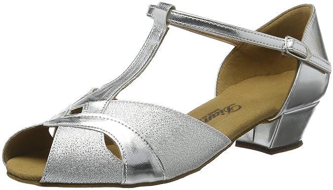 Diamant Mädchen Tanzschuhe 031-030-045, Zapatos de Tacón para Niñas, Plateado (366/Candy), 46 EU