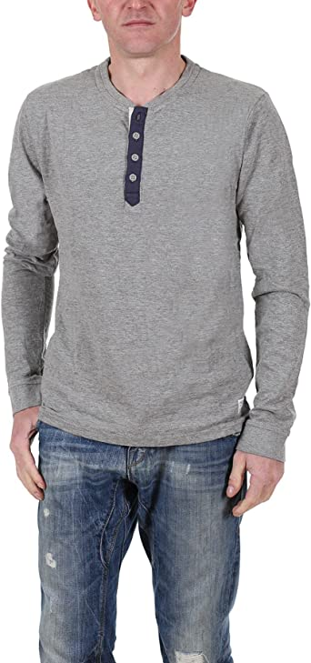 Jack and Jones - Camiseta de manga larga para hombre, diseño vintage, color gris: Amazon.es: Ropa y accesorios