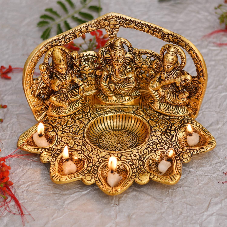 NOBILITY Laxmi Ganesha Saraswati Idol Diya Oil Deepak - Metal Lakshmi Ganesha Showpiece Statue - Traditional Diya for Diwali Puja - Diwali Home Decoration Items Gift