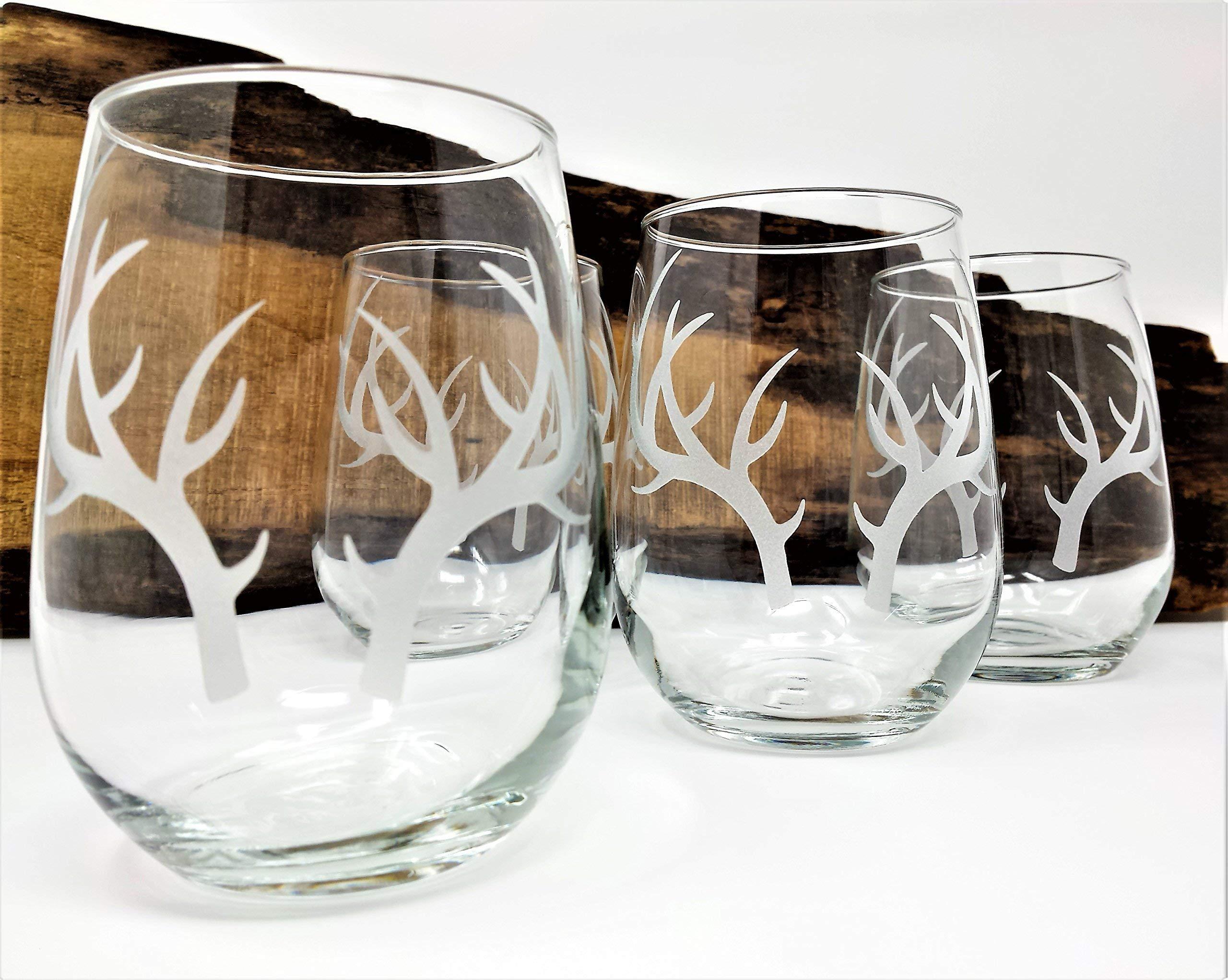 Antlers Stemless Wine Glasses Engraved Wedding Favors Cottage Barware