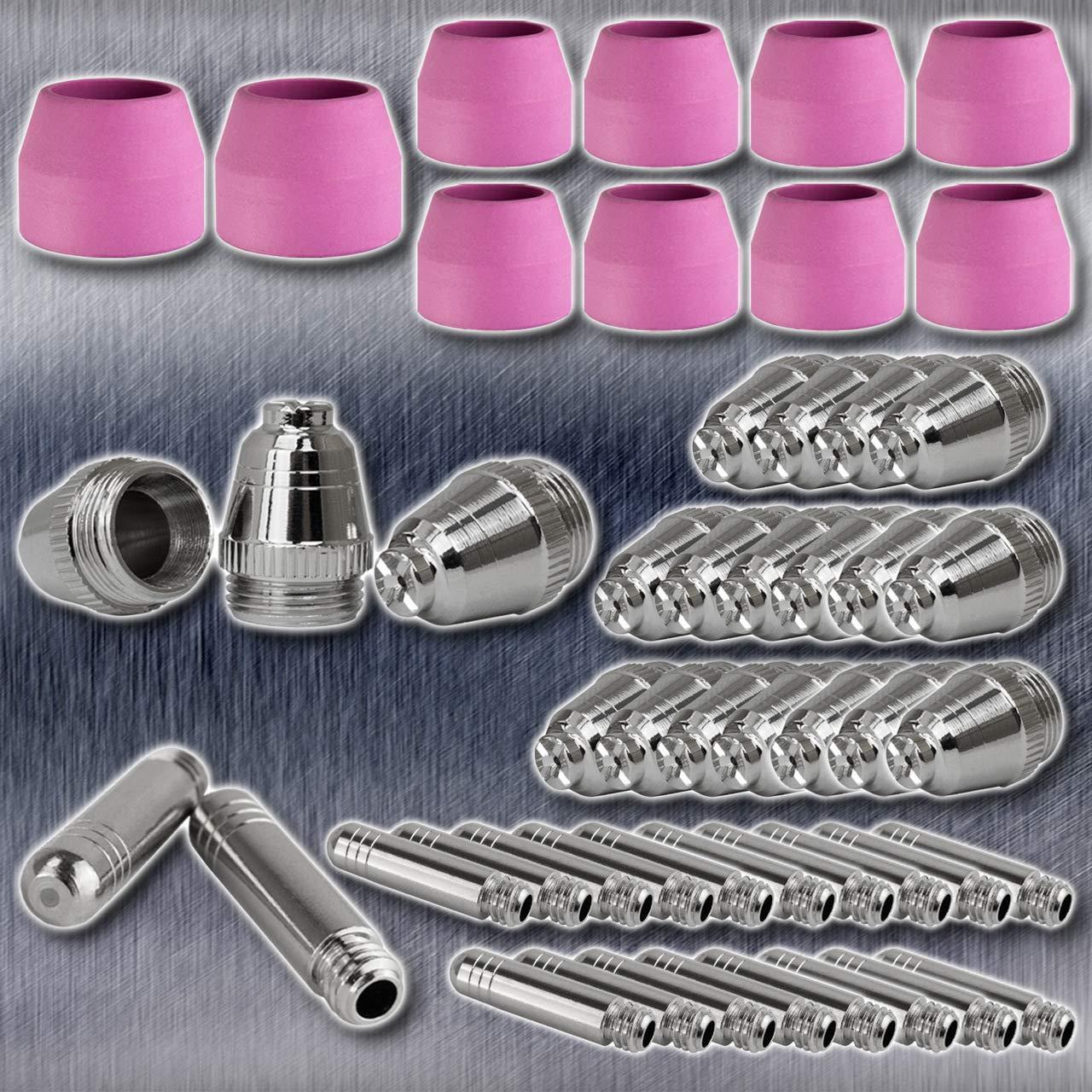 Set 50-teilig STAHLWERK AG-60 Plasmazubeh/ör Verschlei/ßteile Plasmad/üsen Elektroden Keramikkappen f/ür AG-60 // SG-55 CUT Plasmaschneider-Brenner