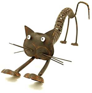 Chalily Socks the Cat Yard Art Sculpture | Fun Whimsical Cat Figurine made from Recycled Metals