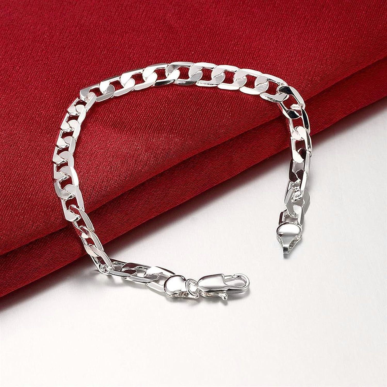 Aokarry Link Bracelet-Wedding Bracelet Bangle Silver Plated Curb Chain n Silver Length 8