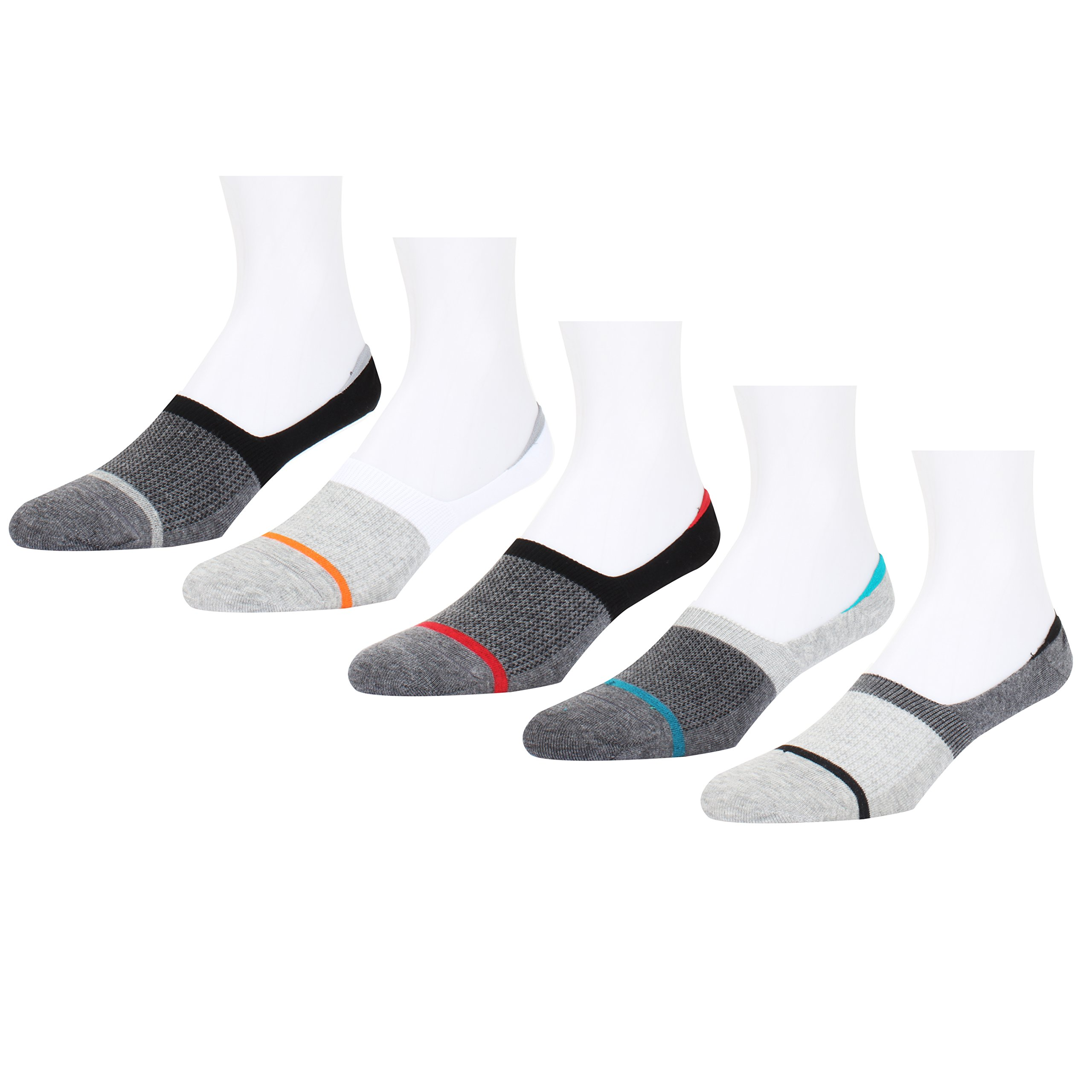 Mens No Show Socks Colorful Stripes Pattern Anti-Slip Grip Low Cut Liner Combed Cotton Funny Socks for Summer 5 Pairs