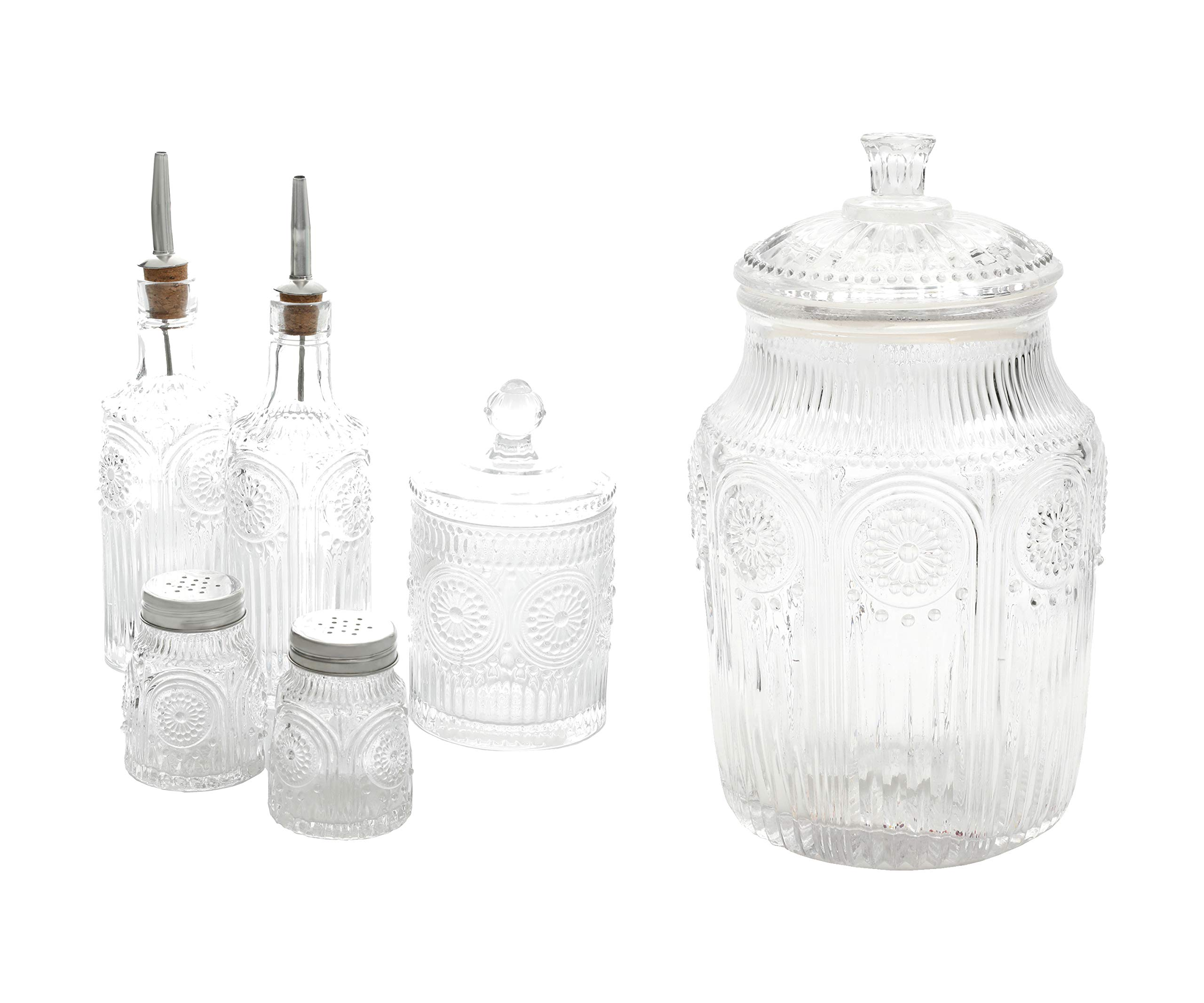 The Pioneer Woman Adeline 5-Piece Condiment Set, Clear bundle with The Pioneer Woman Adeline 1-Piece Glass Canister, Clear