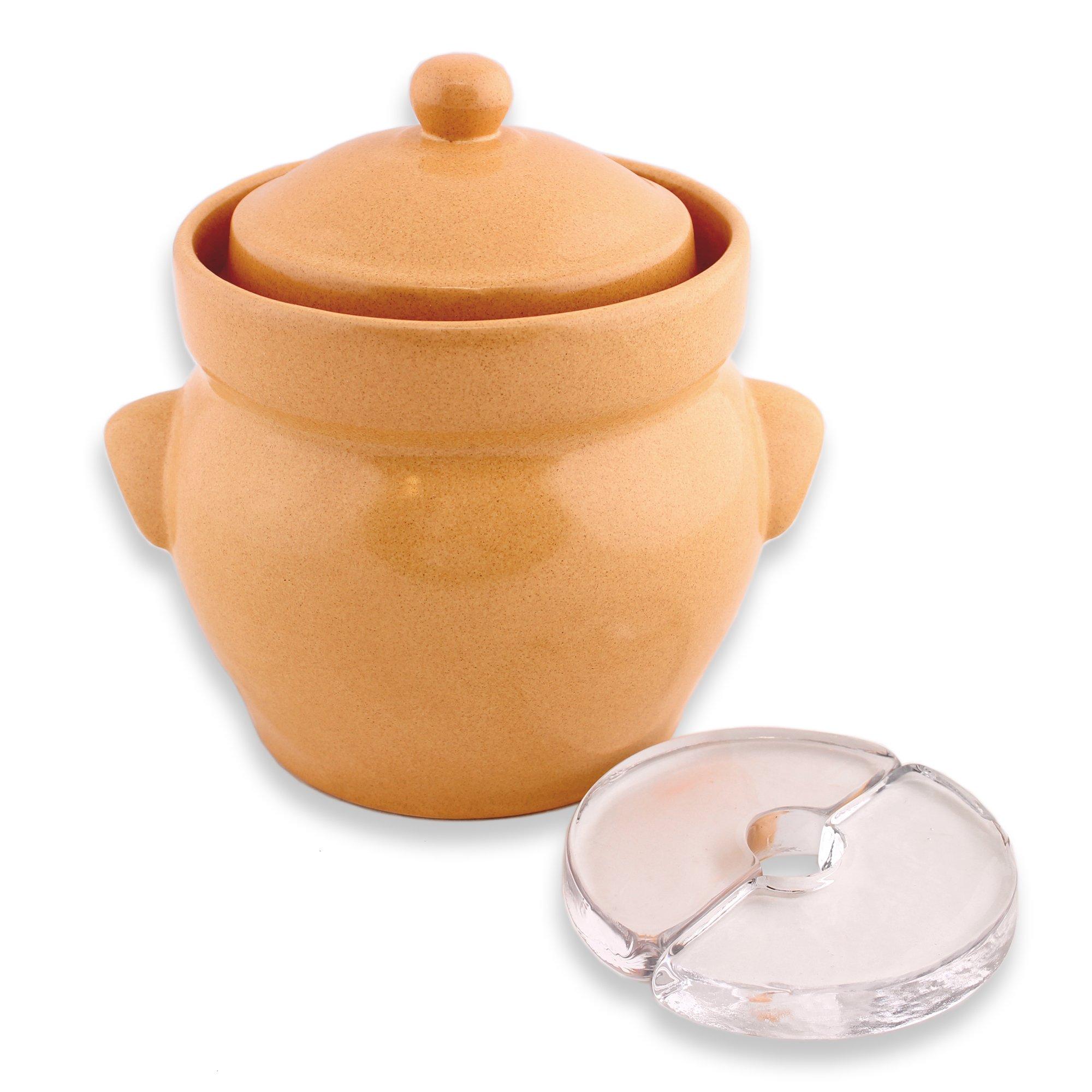 Boleslawiec Cream Fermenting Crock (4 Liter with Glass Weights)