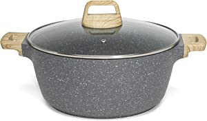 Ecolution Farmhouse Cast Aluminum Speckle Coated Stockpot Casserole Dish with Ergonomic Wood Look Handles, Dishwasher Safe, Glass Lid, Durable Non-Stick, 6 Qt, Black