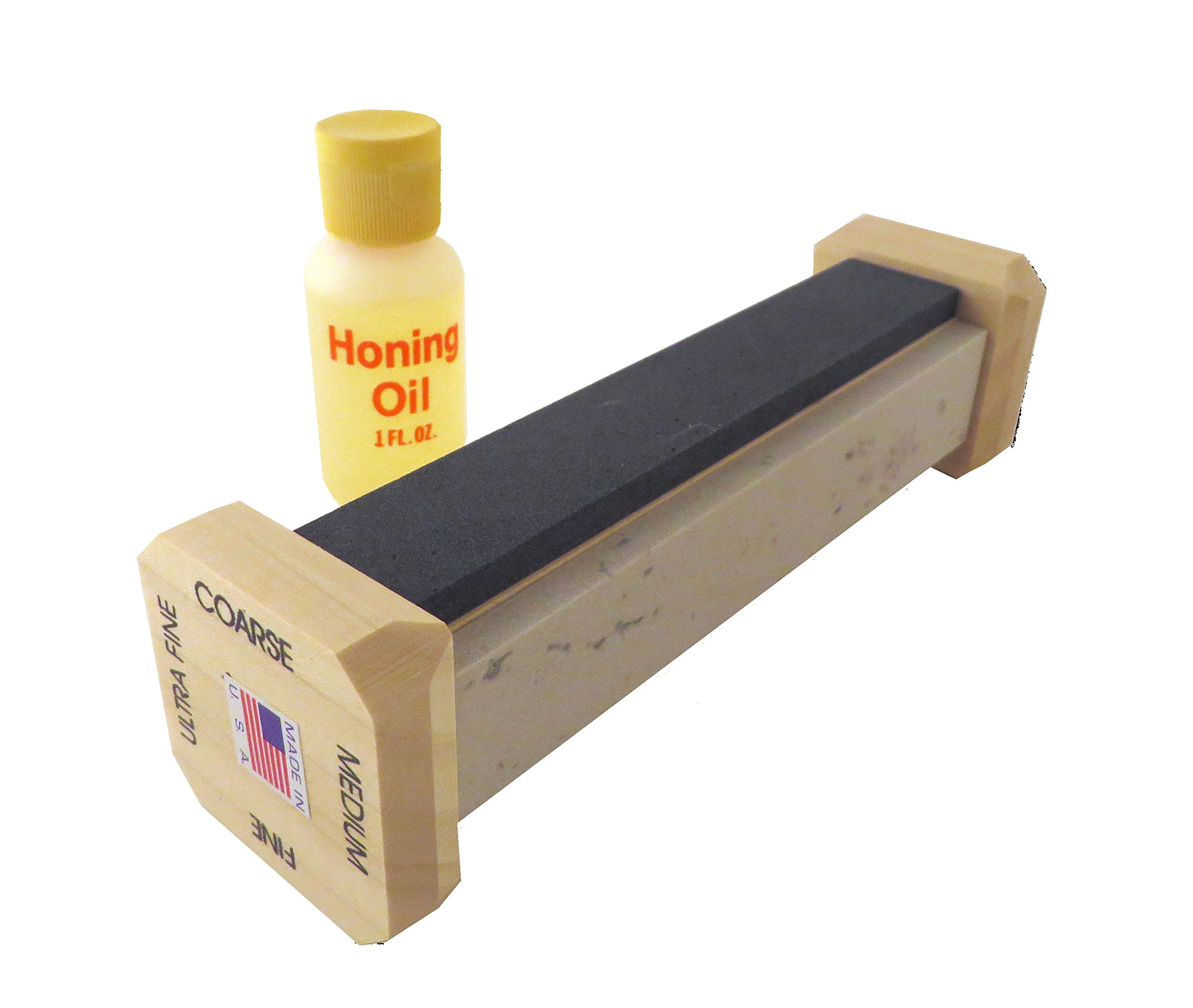 "Genuine 4 Stone Arkansas Full Size Ez Hone Whetstone Knife Sharpening System with Silicon Carbide (Coarse), Soft (Medium), Hard (Fine) and True Hard (Extra Fine) Stones 6"" X 1"" X 1/4"" EZH-64-O"