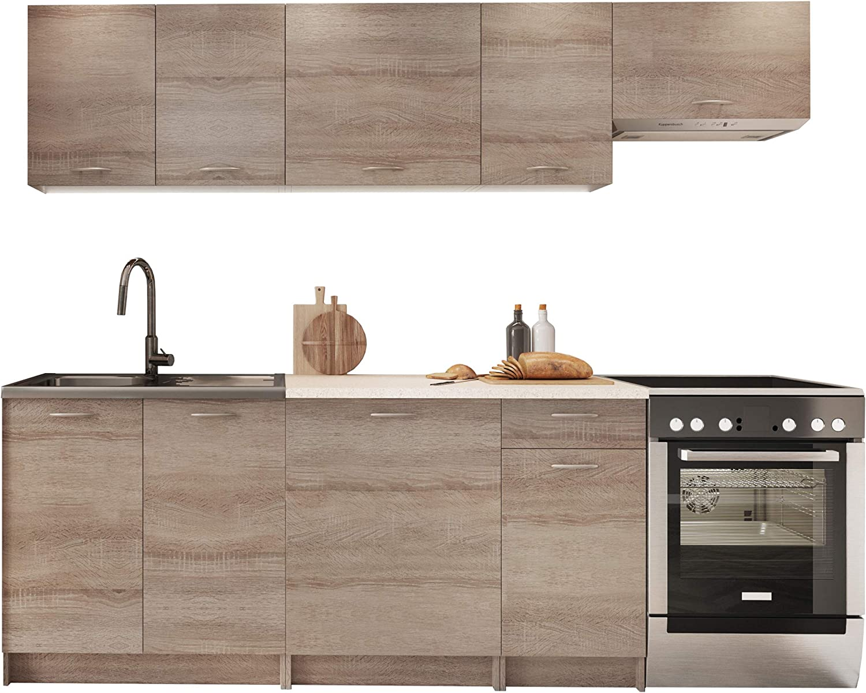 Küche Mela 12/12 cm, Küchenblock/Küchenzeile, Farbauswahl, 12  Schrank-Module frei kombinierbar (Trüffel/Petra Beige)
