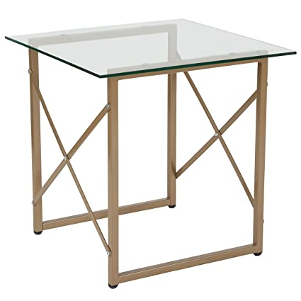 Delicieux Flash Furniture Mar Vista Collection Glass Side Table With Matte Gold Frame