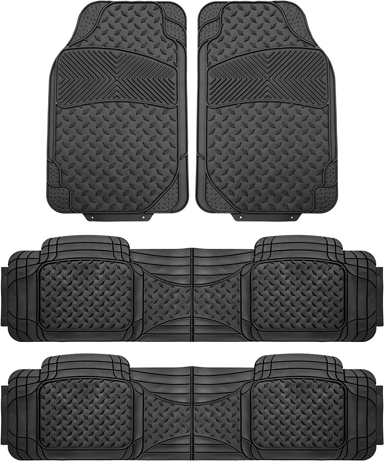 FH Group F11307BLACK-3ROW Black- 3 Row F11307BLACK Trim to Fit Weather SUV Floor Mats