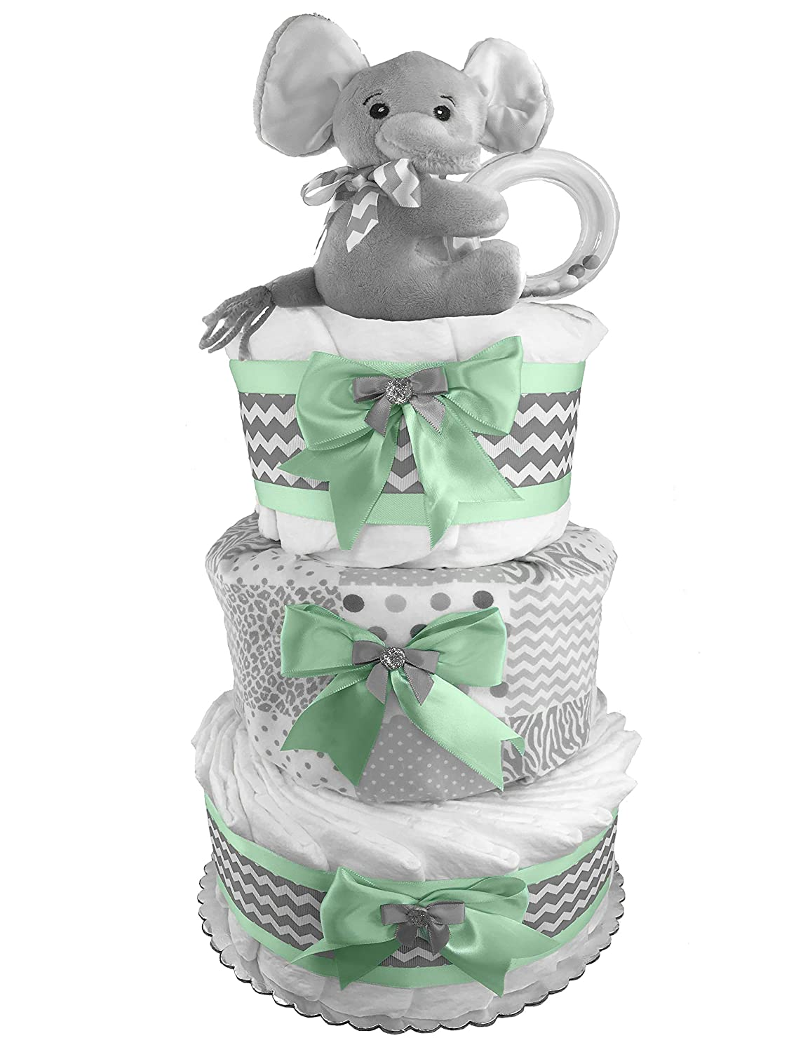 Elephant 3-Tier Diaper Cake - Baby Shower Centerpiece - Mint and Gray Sunshine Gift Baskets