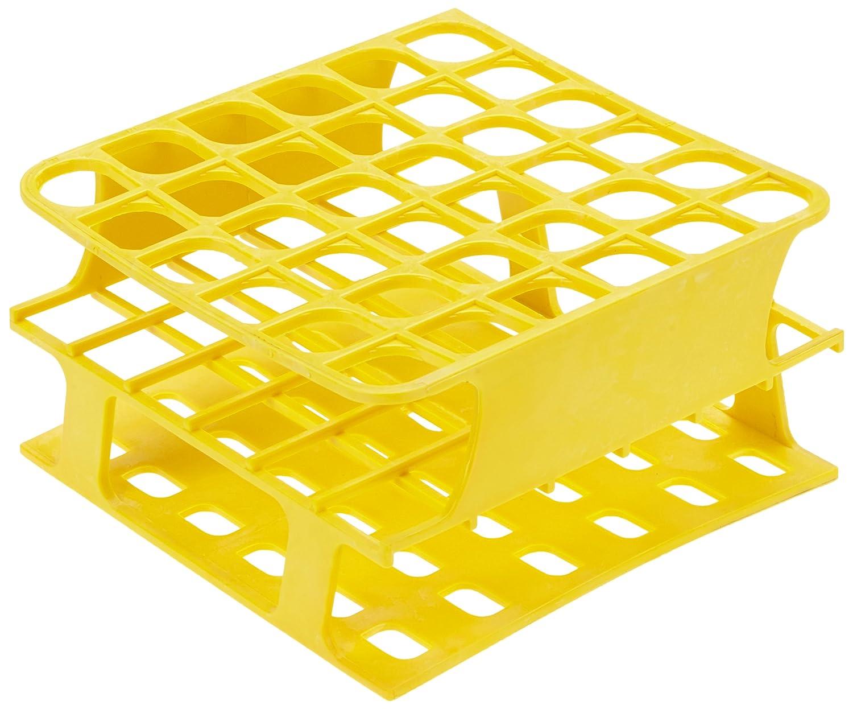 Heathrow Scientific HD120399 - Porta-provette in poliossimetilene, 127 x 127 x 70 mm (LxLxA), 16 mm, giallo HS120399