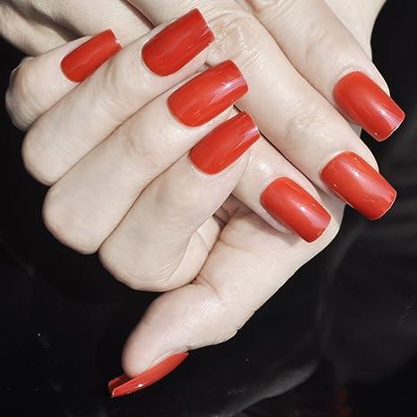 Juego de uñas postizas de color rojo caliente, 24 unidades de puntas de uñas completas