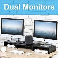 FITUEYES dual monitorstandaard voor computer TV laptop Swivel lengte verstelbaar hout zwart DT108001WB