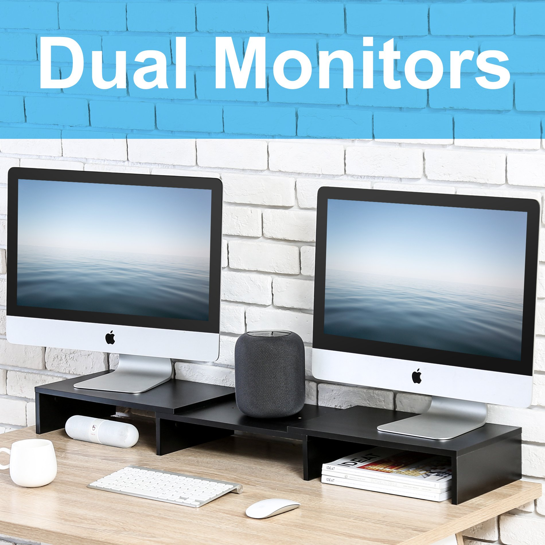 FITUEYES 3 Shelf Monitor Stand Riser with Adjustable Length and Angle,DT108001WB by FITUEYES (Image #2)