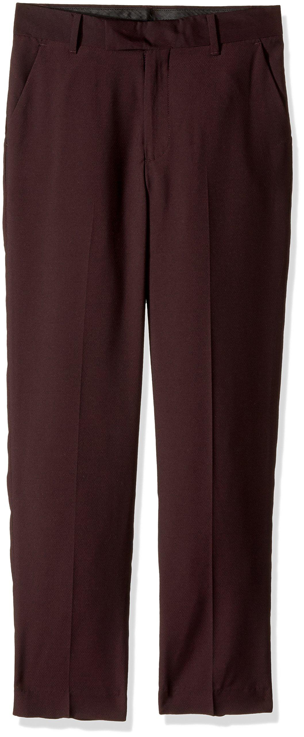 Calvin Klein Big Boys' Flat Front Dress Pant, Square Burgundy, 16