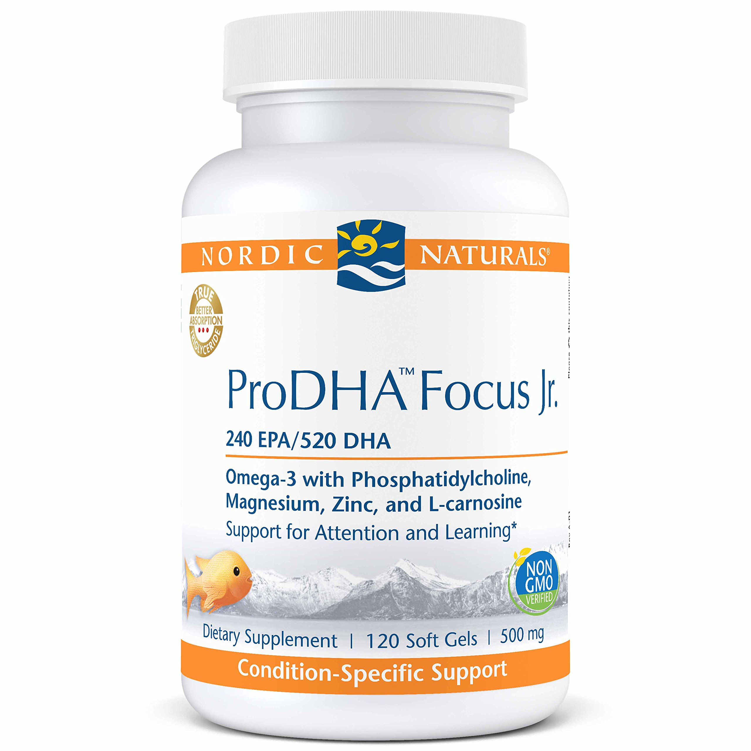 Nordic Naturals ProDHA Focus Jr. - Supports Development of The Brain and Nervous System, Facilitates Communication Between Nerves, and Promotes Attention and Learning- 120 Soft Gels