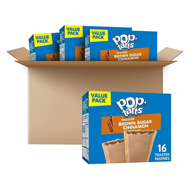 Pop-Tarts Toaster Pastries, Frosted Brown Sugar Cinnamon, Breakfast Foods, Fun Snacks for Kids (64 Pop-Tarts)